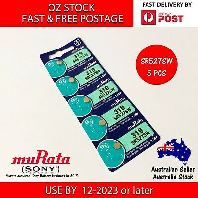 5x MURATA (SONY) SR527SW 319 1.55v Button Coin Cell Silver Oxide Battery Watch
