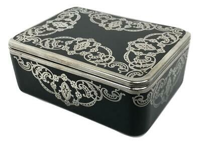 Antique ROCKWELL Art Deco Black Onyx Glass Sterling Silver Overlay Jewelry Box