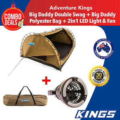 Kings Big Daddy Double Swag  Camping +  Polyester Bag + 2in1 LED Light & Fan