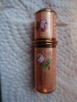 Guilloche Enamel Pink Peach HP Pink Roses n Green Leaves 4 pce Manicure Set Case