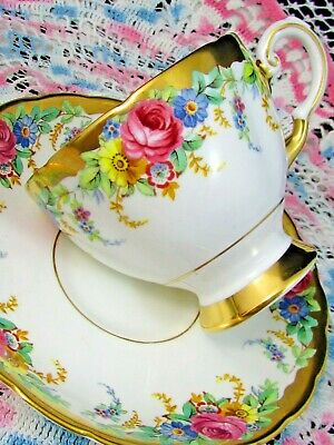 Tuscan Garland Pattern Pink Rose Floral Heavy Gold Tea Cup And Saucer