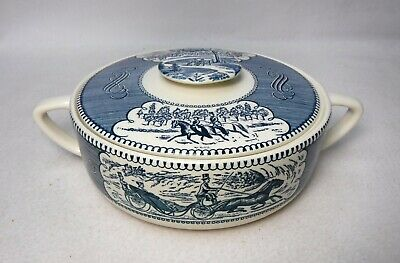ROYAL china CURRIER & IVES BLUE pattern Round Covered Casserole Bowl & Lid