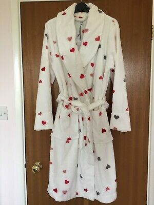 John Lewis Super Soft Fleece  Hearts Robe Dressing Gown Size Small