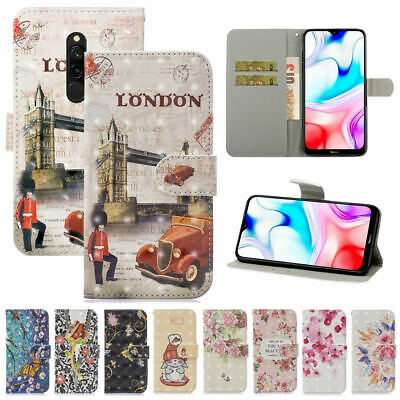 For Xiaomi Redmi 8 8A Note 8 7 6 Pro Painted Leather Filp Book Stand Case Cover