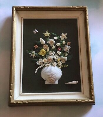 Vintage Seashell Mosaic Picture Folk Art Nautical Shadowbox Floral Still Life