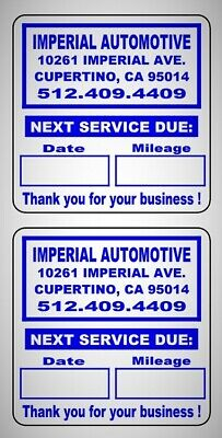 """Custom Oil Change Reminder Stickers Premium Synthetic Stock Removable Adh 2""""x 2"""""""