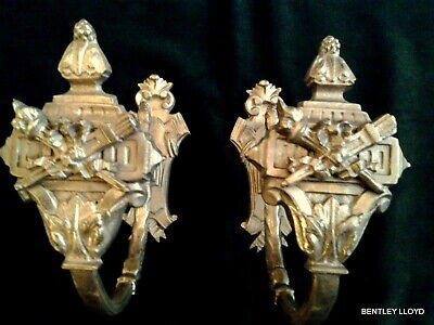 Pair Antique French Gilt Bronze Curtain Tie Backs