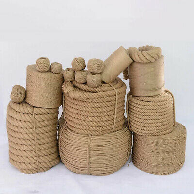 Natural Jute Hessian Rope Twisted DIY Craft Decking Garden Sash Rope Cord 6-40mm