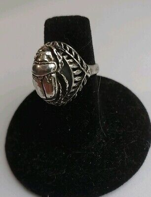 Art Deco Egyptian Scarab Sterling Silver Wreath Laurel Crown Setting Estate Ring