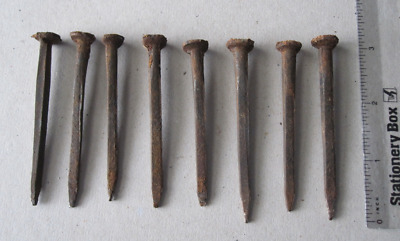 Eight Salvaged Hand Forged Vintage Cut Nails Hand-made