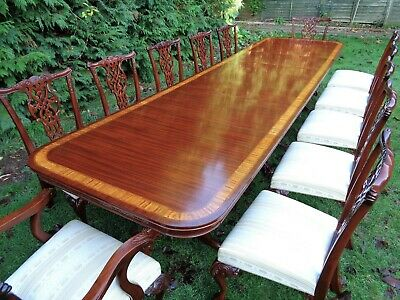 VERY LARGE 12ft 8` EXTENDING MAHOGANY DINING TABLE & 12 CHAIRS ANTIQUE STYLE