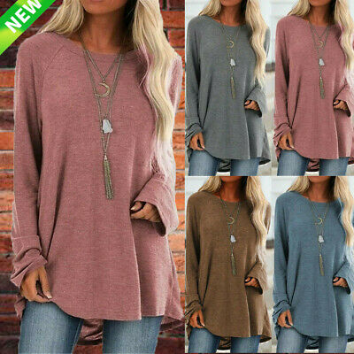 UK Womens Long Sleeve Loose Tunic Tops Ladies Baggy Jumper Pullover Blouse 10-22