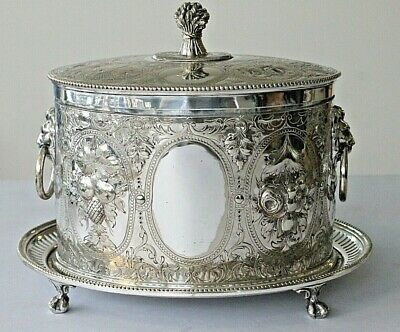 Antique victorian silver plated footed biscuit barrel lion handles circa 1870