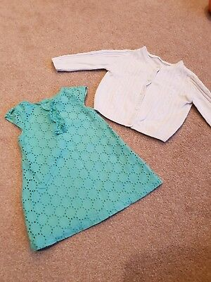 Baby Girls Dress And Cardigan Age 0-3months Mothercare M&S