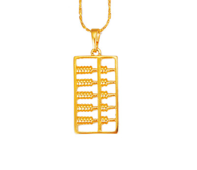 Fashion Yellow Gold Plated Abacus Blessing Fortune Luck Pendant Chain Necklace