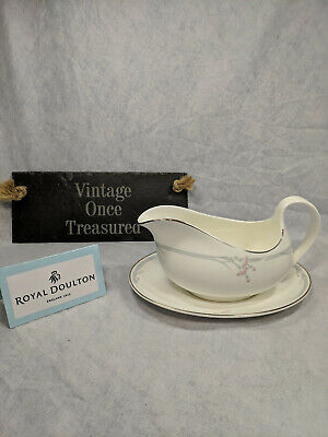 Royal Doulton Carnation H5084 - Gravy Boat / Sauce Jug with Stand - Vintage VGC