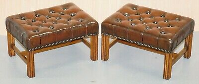 Pair Of Fully Restored Deep Cigar Brown Leather Chesterfield Tufted Footstools