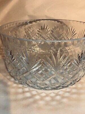 Large Centrepiece Trifle Fruit Bowl Heavy Cut Glass Crystal