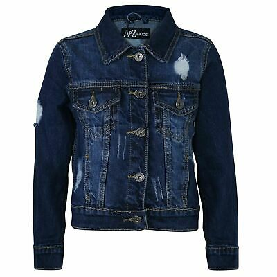 Kids Boys Dark Blue Denim Jackets Designer Ripped Jeans Fashion Coat Age 3-13 Yr