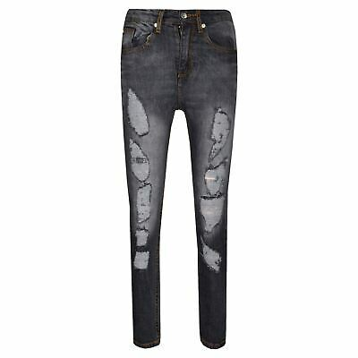 Boys Stretchy Jeans Kids Ripped Black Denim Skinny Pants Jeans Trousers 5-13 Yr