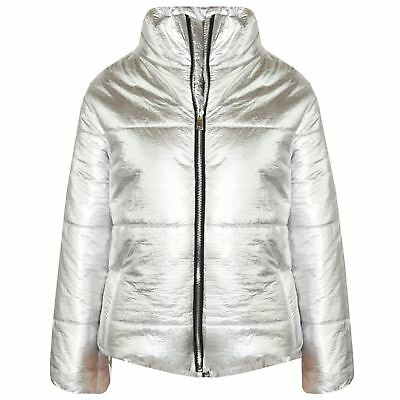 Girls Jacket Kids Metallic Foil Cropped Padded Quilted Puffer Jackets Coats 5-13