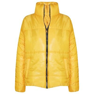 Kids Girls Jacket Wet Look Cropped Padded Quilted Puffer Mustard Jackets 5-13 Yr