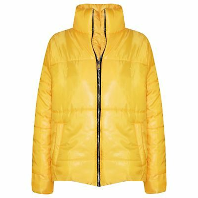 Girls Jacket Kids Mustard Wet Look Cropped Padded Quilted Puffer Jackets Coats