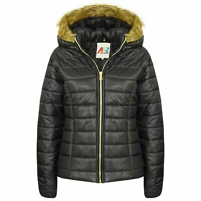 Kids Girls Jackets Black Puffer Padded Quilted Detachable Hood Faux Fur Top Coat