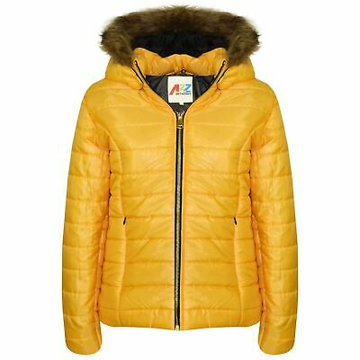 Kids Girls Jackets Mustard Puffer Padded Quilted Detachable Hood Faux Fur Coats