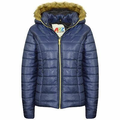 Kids Girls Jackets Navy Puffer Padded Quilted Detachable Hood Faux Fur Top Coats