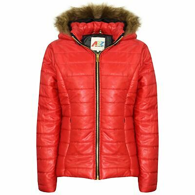 Kids Girls Jackets Red Puffer Padded Quilted Detachable Hood Faux Fur Top Coats