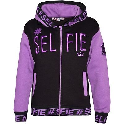 Kids Girls Lilac #Selfie Embroidered Jackets Zipped Top Hooded Hoodie 5-13 Year