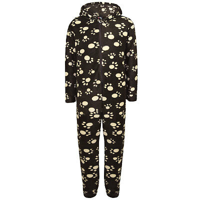 Unisex Kids Girls Paw Print Brown Stylish Hooded A2Z Onesie One Piece 2-6 Years
