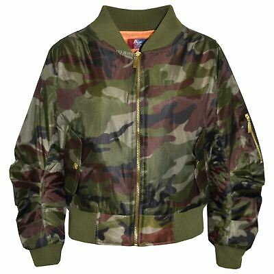 Kids Jacket Girls Boys Camouflage Bomber Padded Zip Up Biker Jacktes MA 1 Coat