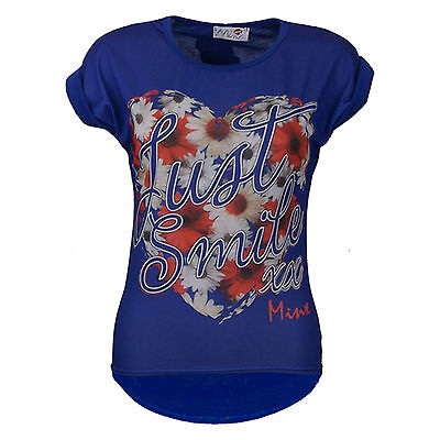 "New Girls "" JUST SMILE XX "" Print Floral Stylish Fashion Funky T Shirt Top 7-13Y"
