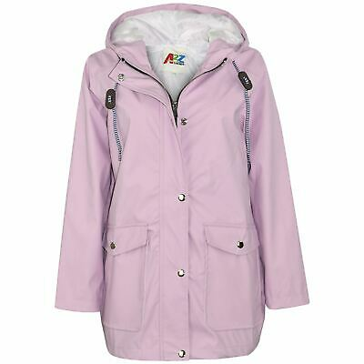 Kids Girls Boys PU Raincoat Jacket Lilac Hooded Waterproof Rainmac Cagoule 5-13Y