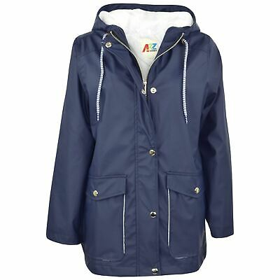 Kids Girls Boys PU Raincoat Jacket Navy Hooded Waterproof Rain Mac Cagoule 5-13Y