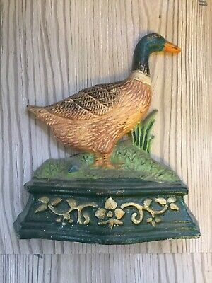 Vintage Cast Iron Duck Doorstop Salvage Item