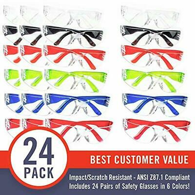 PACK OF 24 Safety Glasses Protective Goggles Crystal Clear Eye Protection NEW