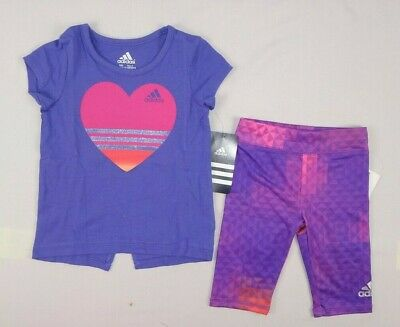 adidas baby Girls short sleeve top and tight set size 4