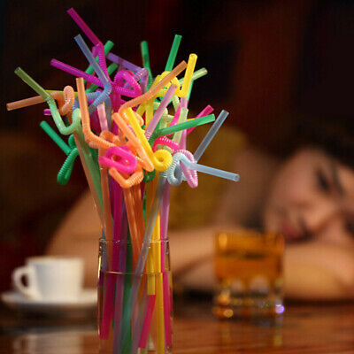 100 Pcs Colorful Disposable Plastic Banquet Drinking Straw Flexible Suction Tube