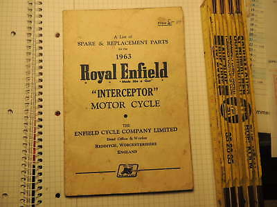 Royal Enfield 1963 Interceptor Spares Replacement Parts 56 pages Teileliste