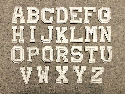 White Alphabet Letters Iron /Sew On Patch Badge For Clothes Hat ,A-Z Words