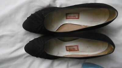 Hand made navy blue suede vintage shoes by Savva size 6