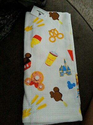 Disney Parks Mickey Snack Food Icons Dish Kitchen Towel Set of 2 New With Tags