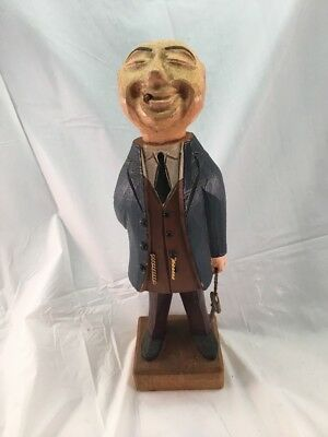 Vintage Old Carved Wood Statue Figure Man in Suit Holding Key W/ Cigar in Mouth