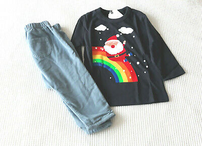 Next Baby Girls Navy Christmas Top & Blue Cord Trousers Age 3-6 Months BNWT
