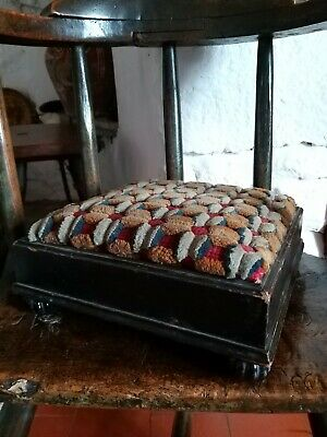 A Wonderful 19th Tapestry Footstool