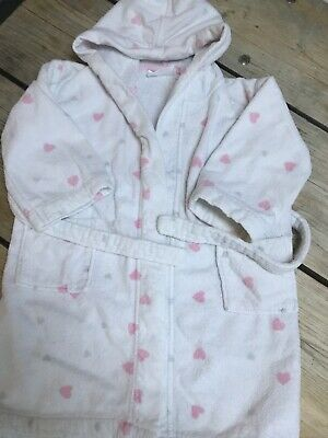 Little White Company Pink Hearts Girls Hooded Dressing Gown Age 3 - 4