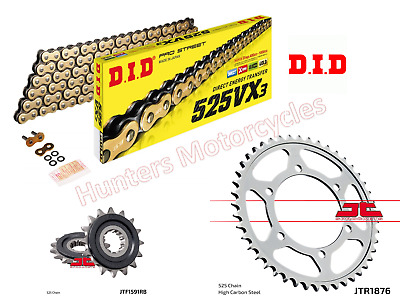 Yamaha MT09 DID Gold X-Ring Heavy Duty Chain & JT RB Quiet Sprocket Kit Set